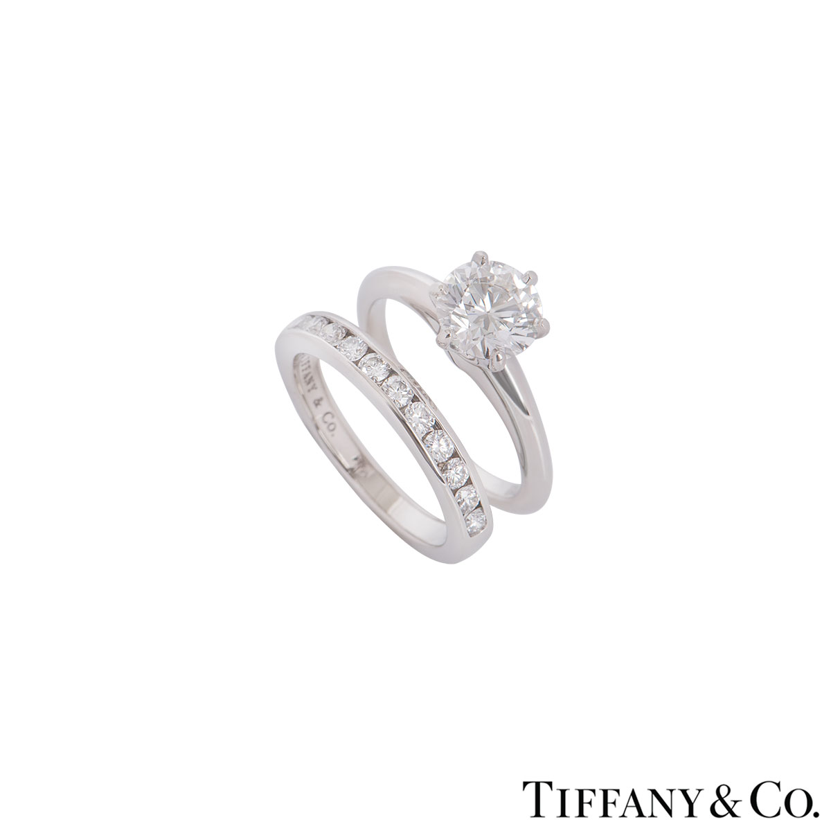 Tiffany & Co. Platinum Diamond Ring 1.36ct G/VVS1 With Diamond Half Eternity Ring